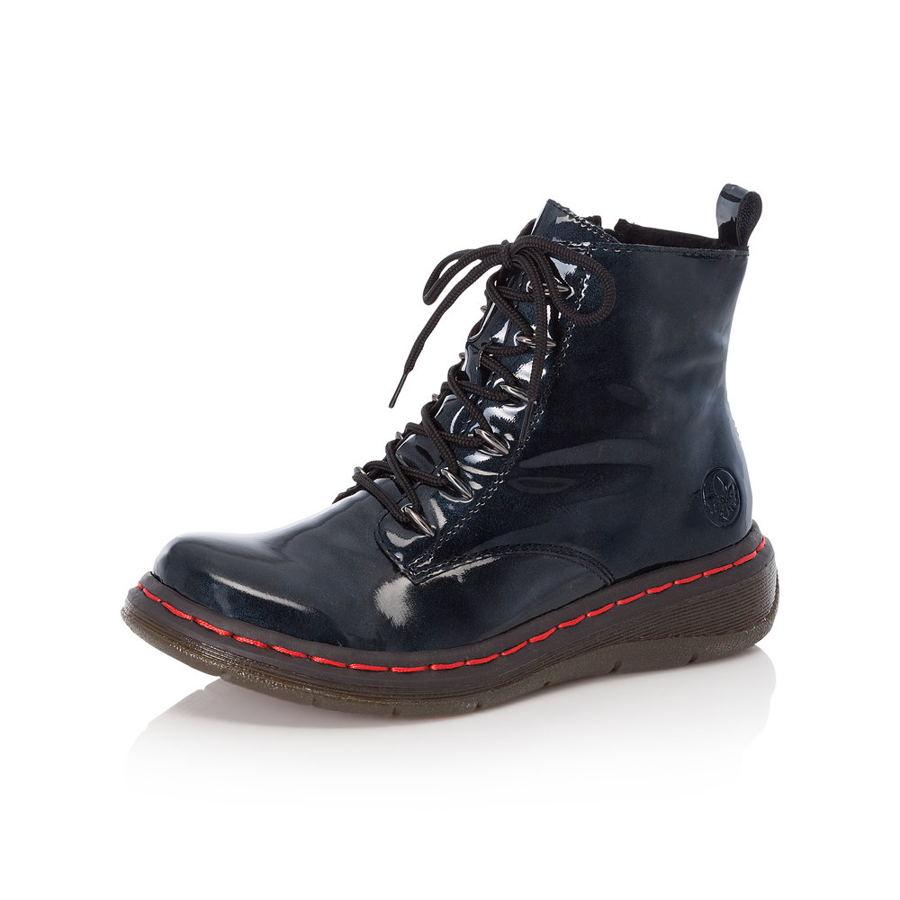 Rieker Y3219-14 Navy patent zip/lace boot   Sizes - 37 and  41 only.   Price - £65 NOW £49