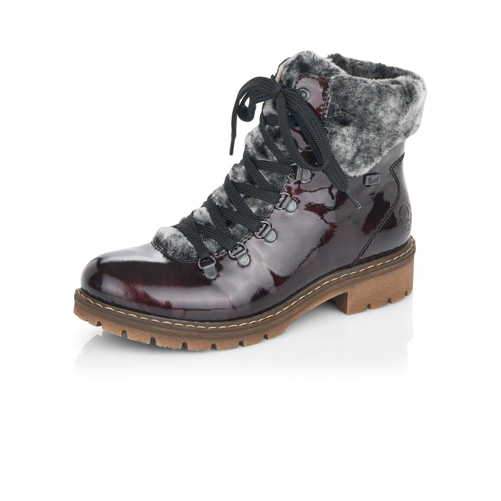 Rieker Y9124-35 Wine patent zip/lace boot  Sizes - 37, 38 and 39.  Price - £72 NOW £49