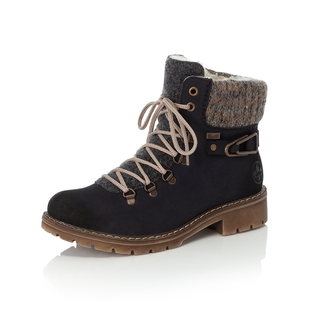 Rieker Y9131-14 Navy Tex zip/lace boot Size - 37 only  Price - £72 NOW £49