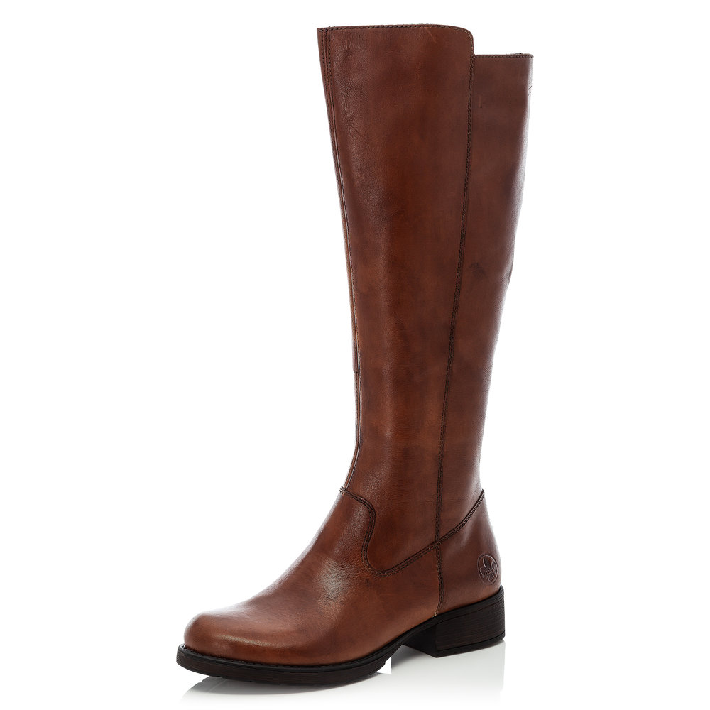Rieker Z9590-25 Brown leather long zip boot   Sizes - 37 only.   Price - £99 NOW £69