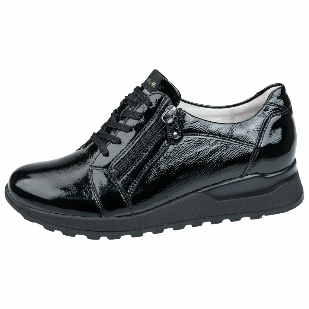 Waldläufer 364023 Black patent Zip/ lace Shoe   Sizes - 7 and 8.   Price - £75