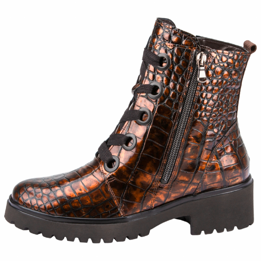 Waldläufer 716802 Brown croc Zip/lace Boot   Size - 7 only.   Price - £95 NOW £69