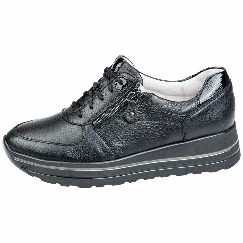 Waldläufer 758001 Black zip/lace Shoe   Sizes - 4 to 7   Price - £79
