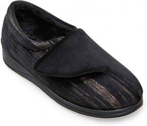 Padders Hug 424N1005 Black multi velcro slipper  Sizes - 4 to 8  Price - £30.00