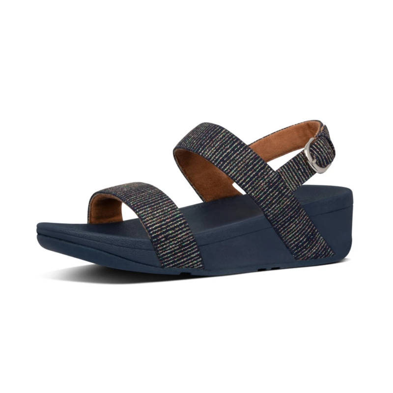 FitFlop Lottie Glitter stripe Navy sandal.   Sizes - 4, 5, 6 and 7.    Price - £70 Now £45