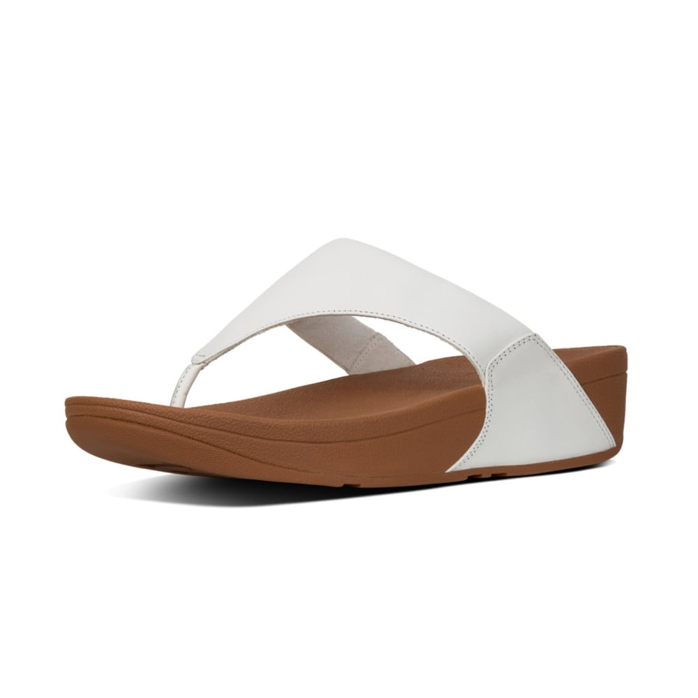 FitFlop Lulu White Leather Toe Post slide.   Sizes - 3, 4, 6, 6.5 and 7.    Price - £65 Now £49