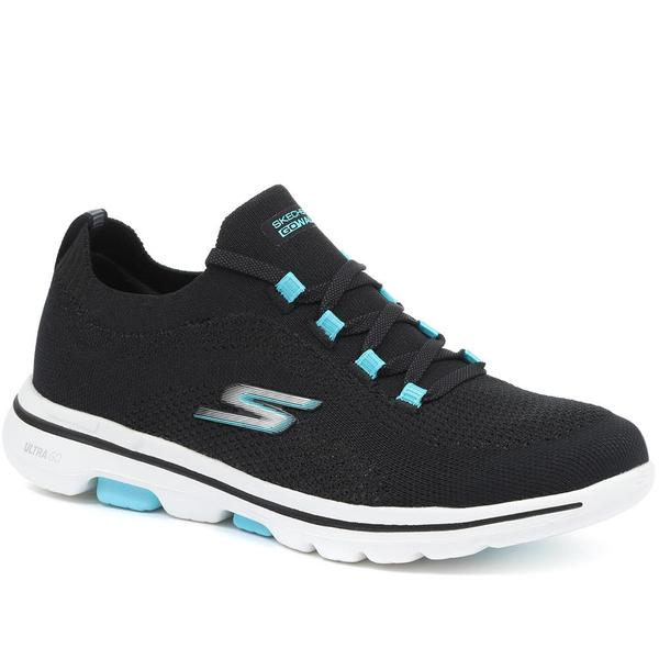 Skechers 12401 Go Walk 5 Black Aqua lace.  Sizes - 4 and 7 only.  Price - £69 Now £55