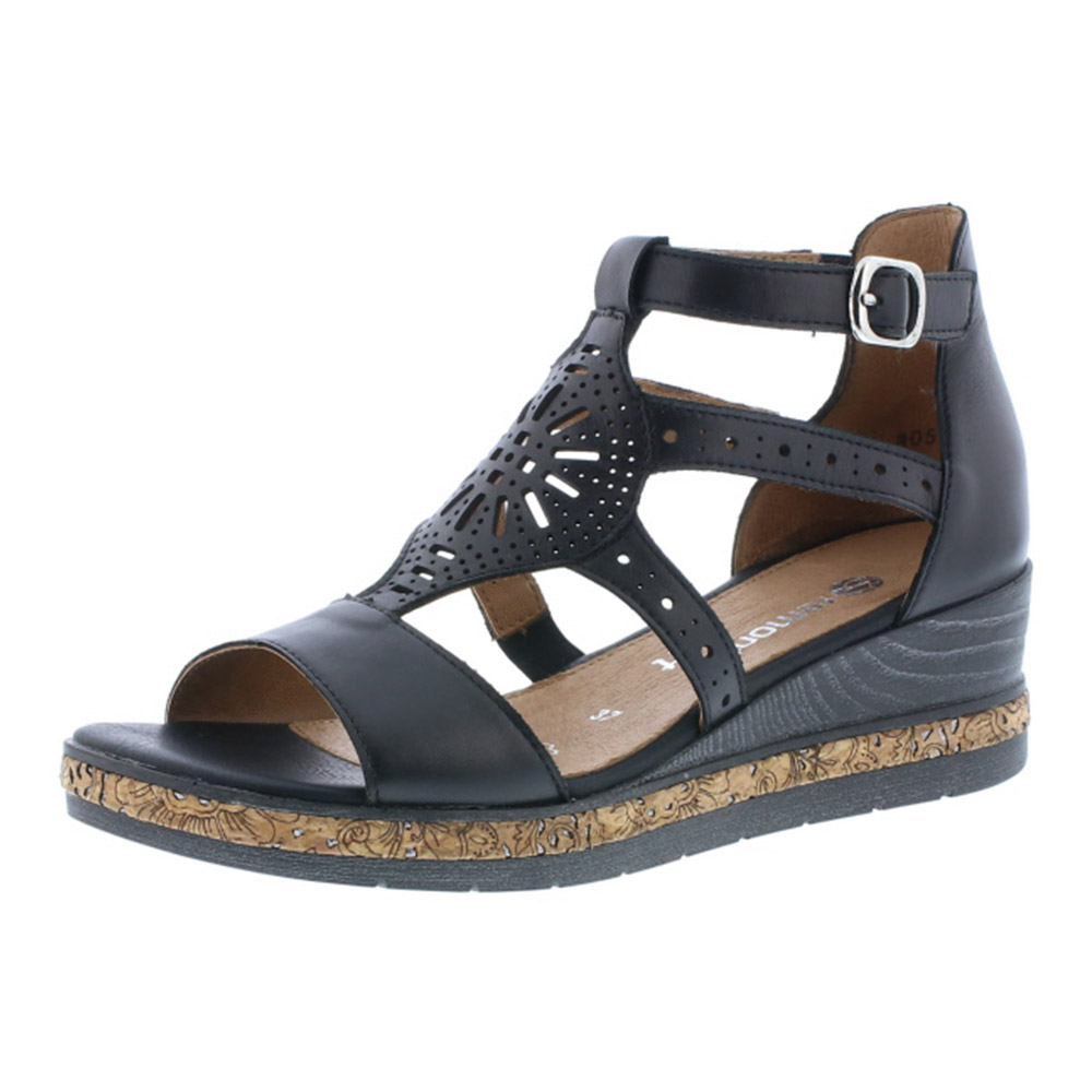 Remonte D3053-01 black strappy wedge sandal Sizes - 37 to 41 Price - £ 69.00