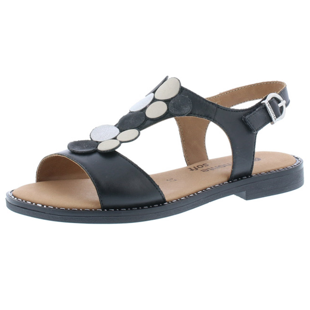 Remonte D3655-01 black flat sandal Sizes - 37 to 42 Price - £ 62.00