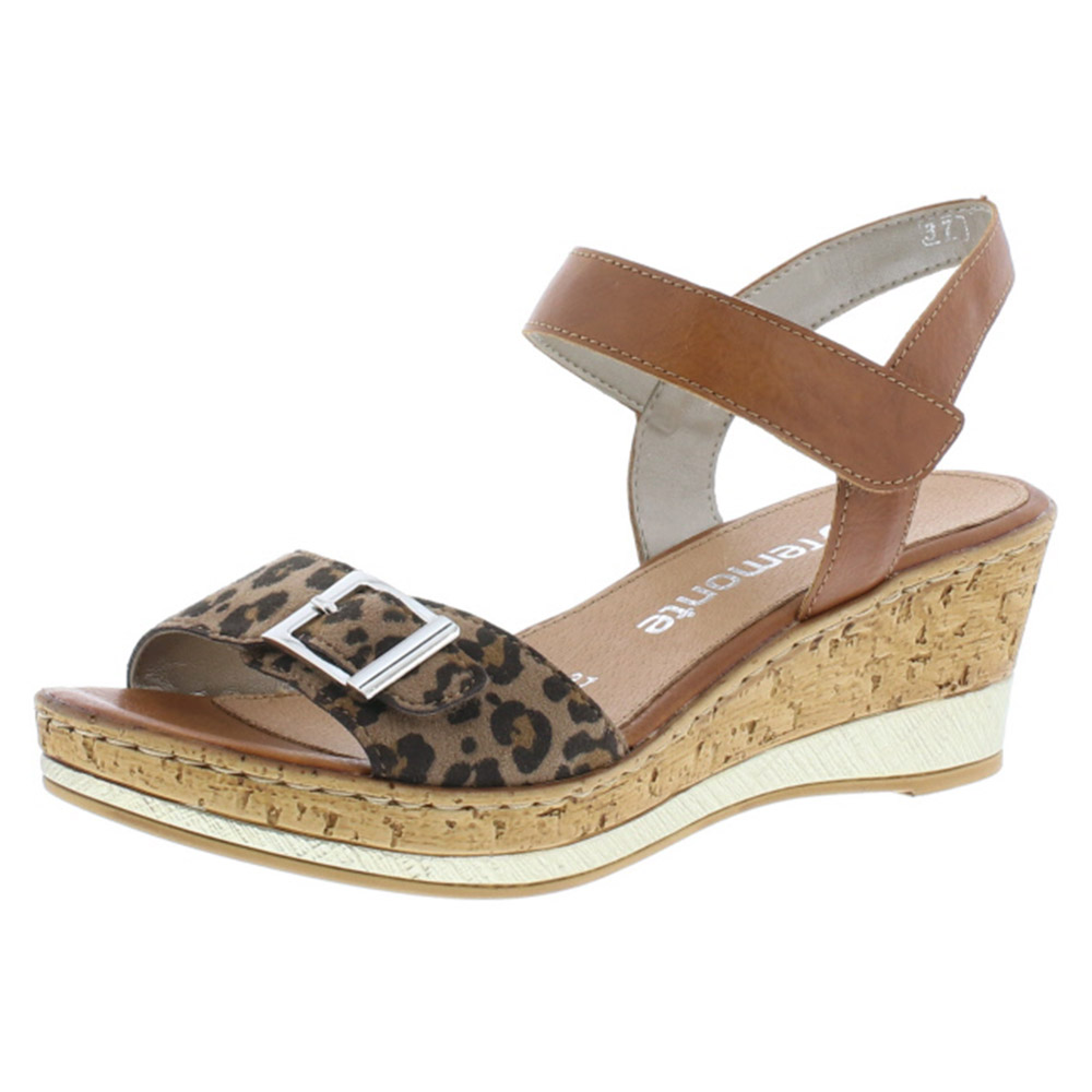 Remonte D4754-24 tan leopard wedge sandal Sizes - 37 to 40 Price - £ 57.00