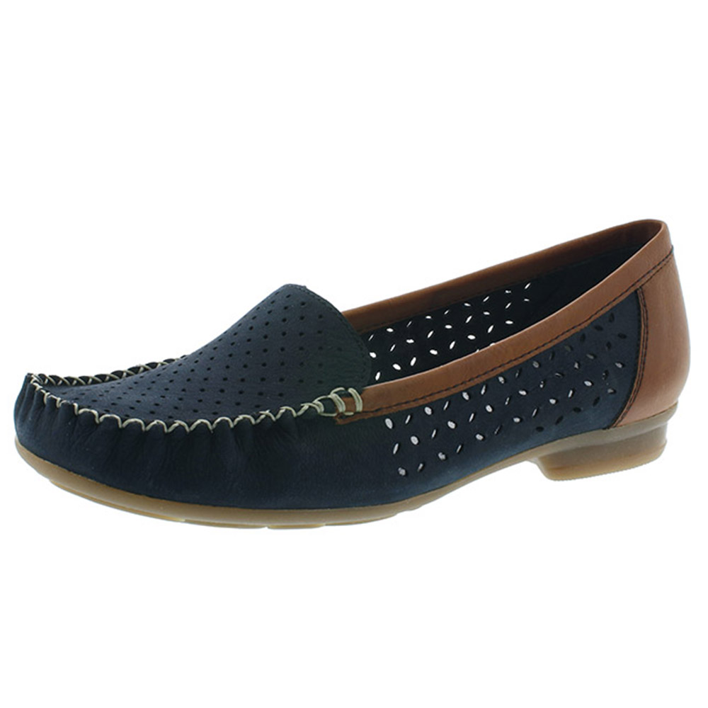 Rieker 40086-14 navy tan moccasin shoe Sizes - 37, 40 and 41. Price - £55