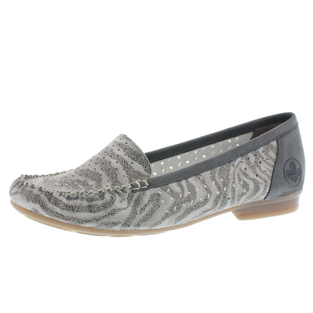 Rieker 40086-42 grey stripe moccasin Sizes - 36, 37, 38 and 41. Price - £55