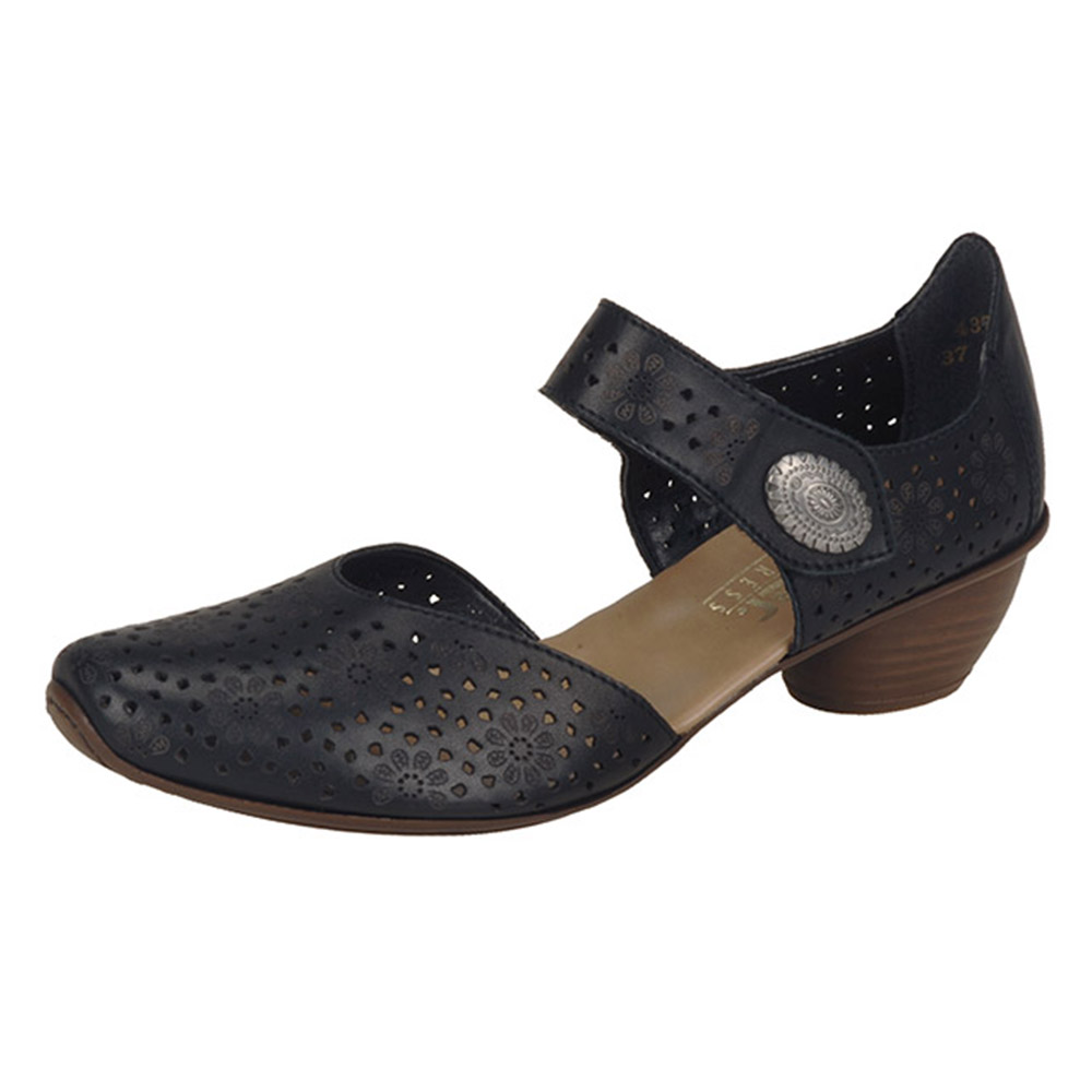 Rieker 43711-00 black strap heel shoe Sizes - 37, 38, 40 and 42. Price - £57