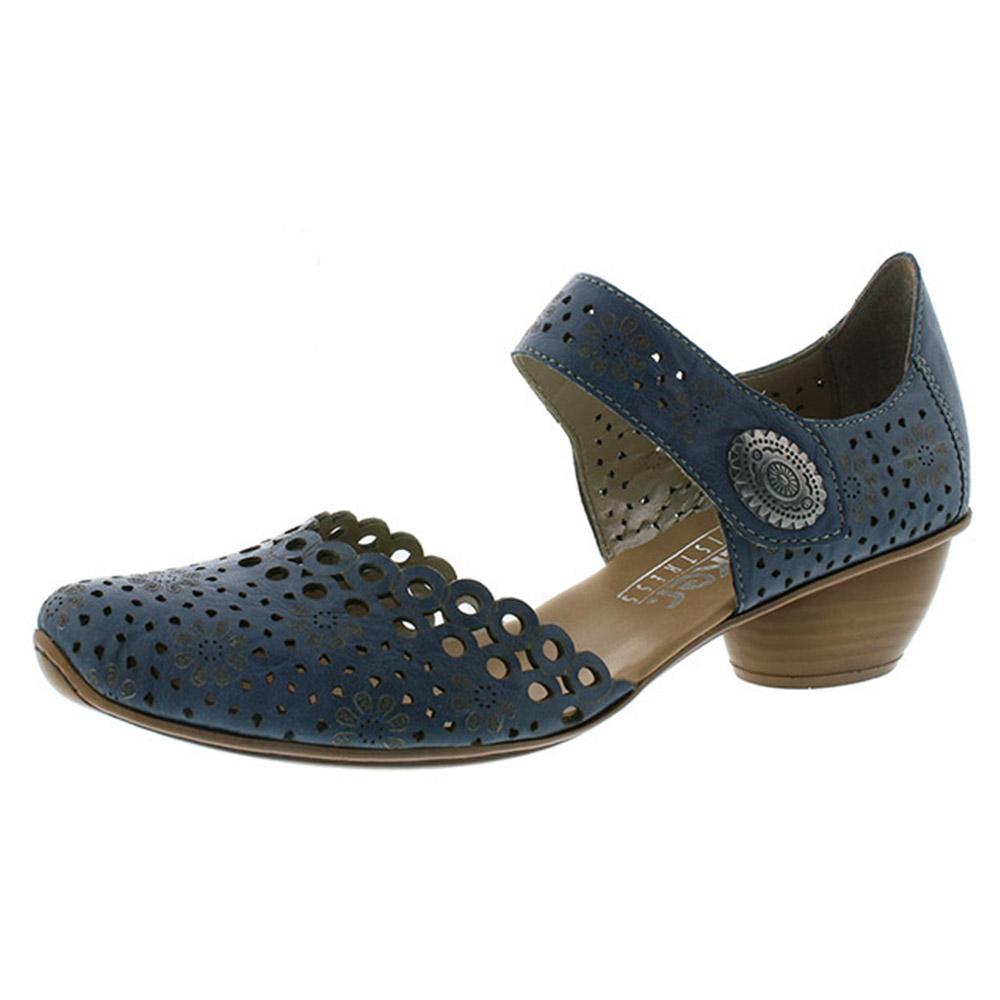 Rieker 43753-12 dark blue strap heel shoe Sizes - 36, 37, 38 and 40. Price - £55 Now £49