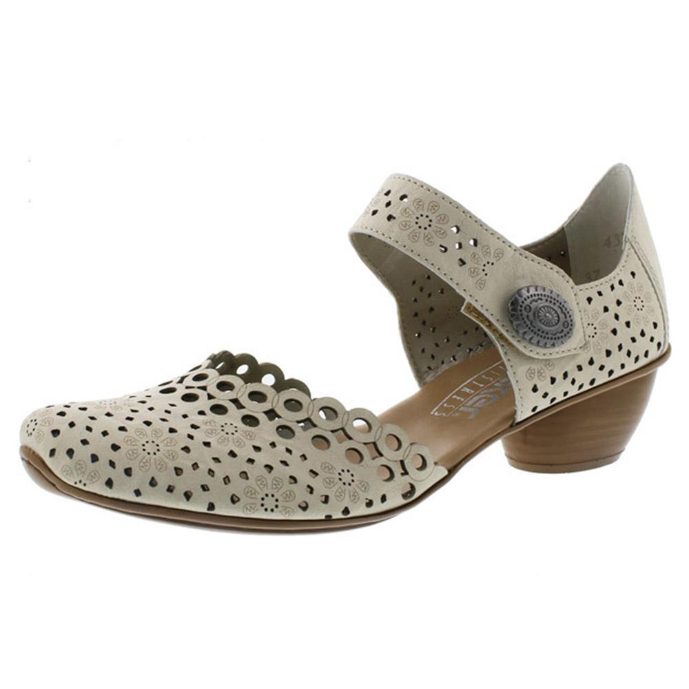 Rieker 43753-60 cream strap heel shoe Sizes - 37, 38, 40 and 41. Price - £55 Now £49