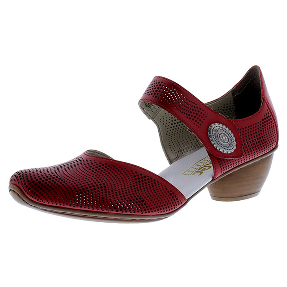 Rieker 43767-33 red strap heel shoe Sizes - 37, 41 and 42. Price - £55