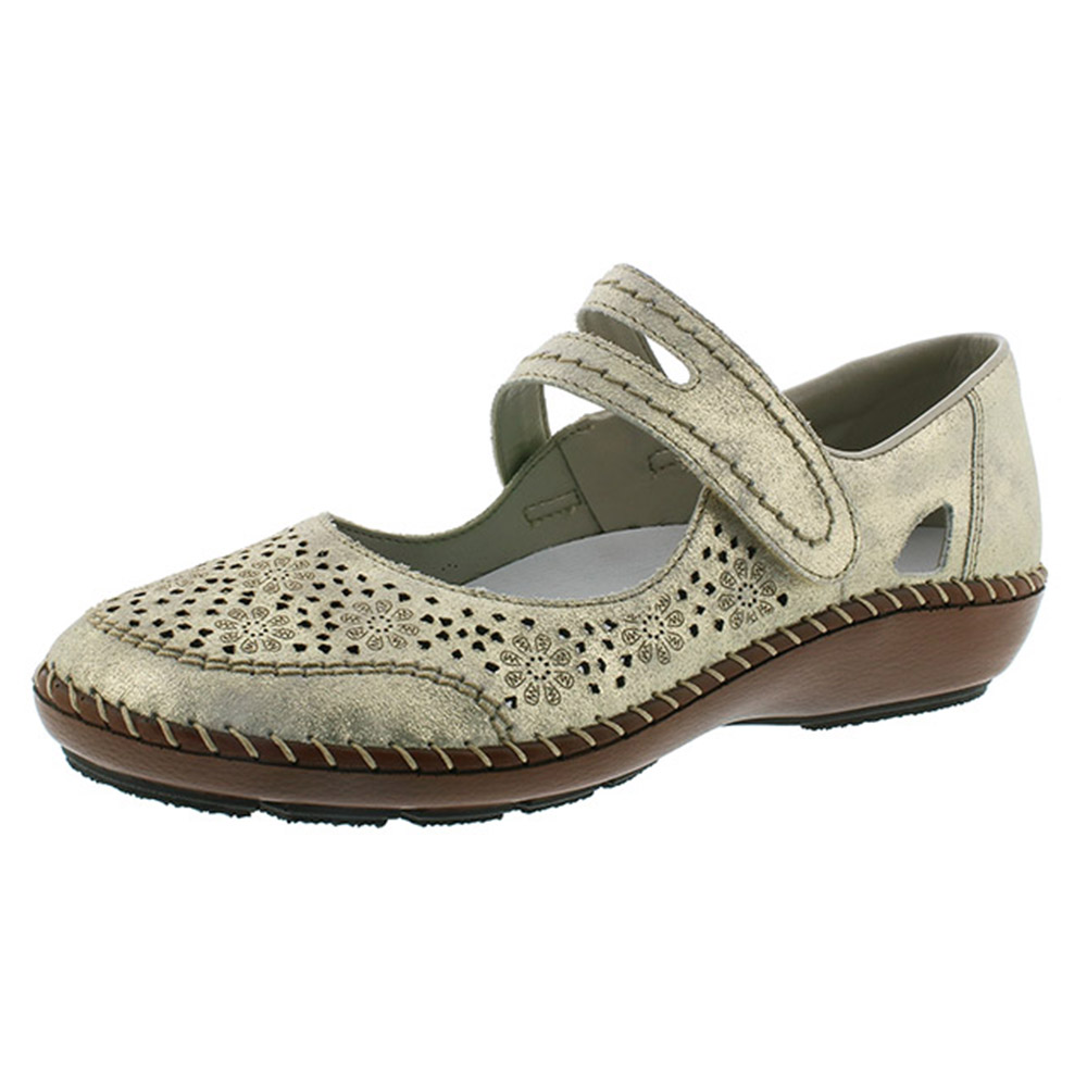 Rieker 44875-62 gilt strap shoe Sizes - 37 and 40 only. Price - £57