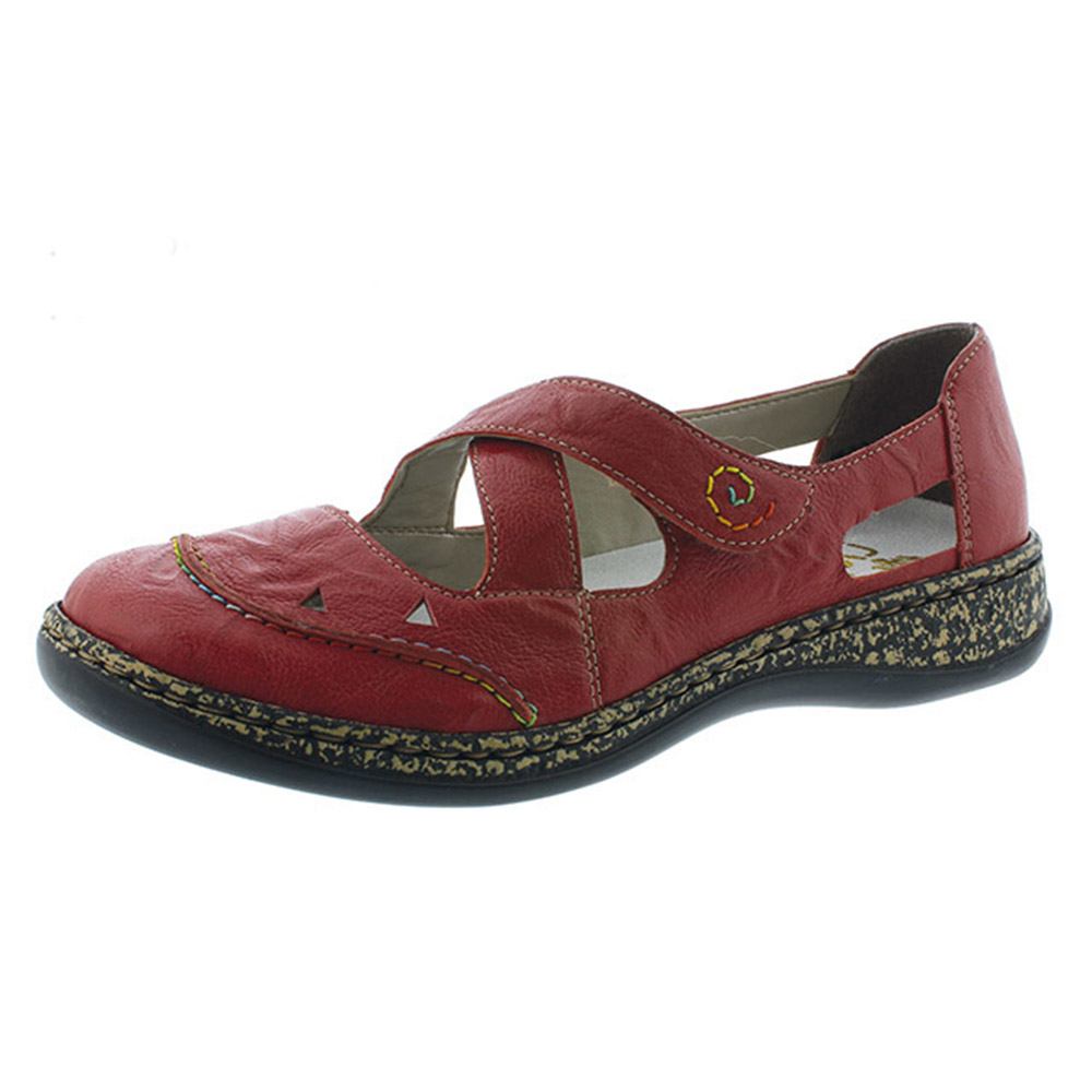 Rieker 46335-33 red cross strap shoe Sizes - 37 to 42 Price - £57