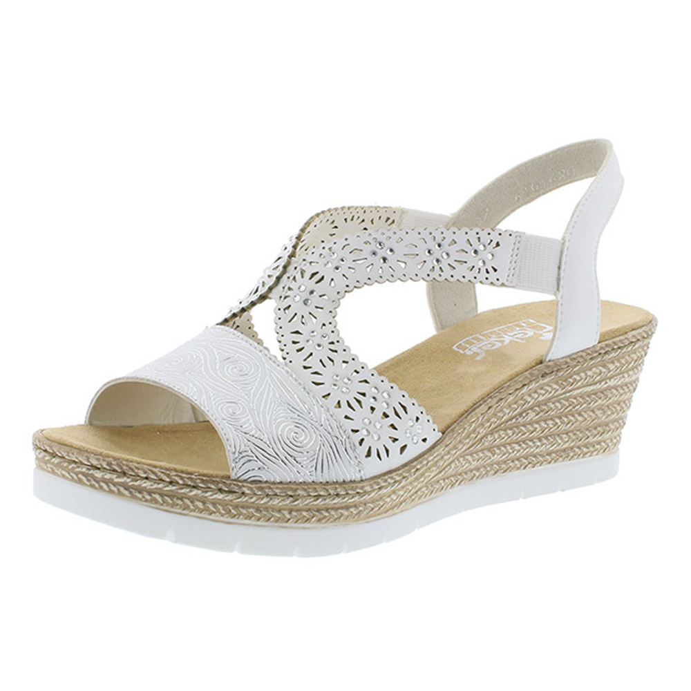 Rieker 61916-80 white strap wedge sandal Sizes - 36, 39 and 40. Price - £55