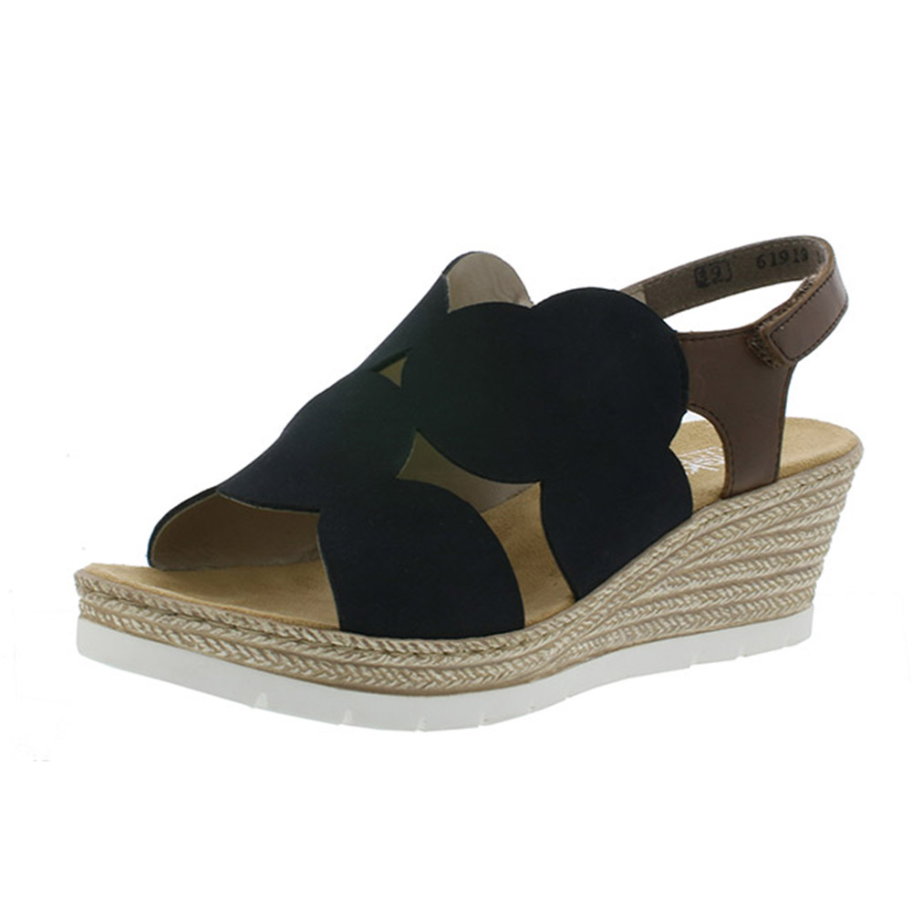 Rieker 61919-14 navy tan wedge sandal Sizes - 39 and 41 only. Price - £52