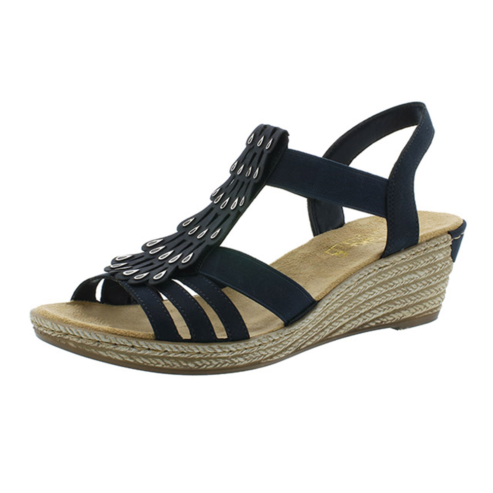 Rieker 62436-14 navy strap wedge sandal Sizes - 37 to 41 Price - £52