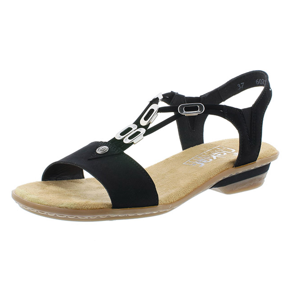Rieker 63453-00 black strappy sandal Sizes - 37, 38, 39, 40 and 42. Price - £52