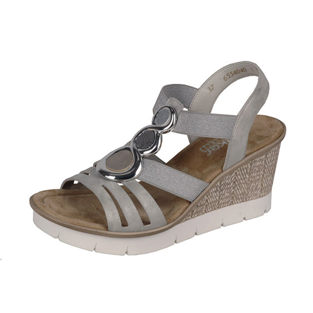 Rieker 65540-40 grey silver wedge sandal Sizes - 37 to 41 Price - £52