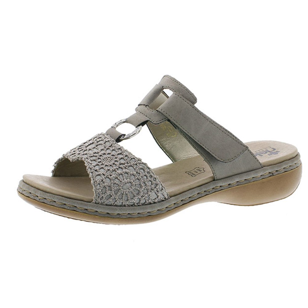 Rieker 65943-42 silver grey twin strap mule Sizes - 37 to 40 Price - £57