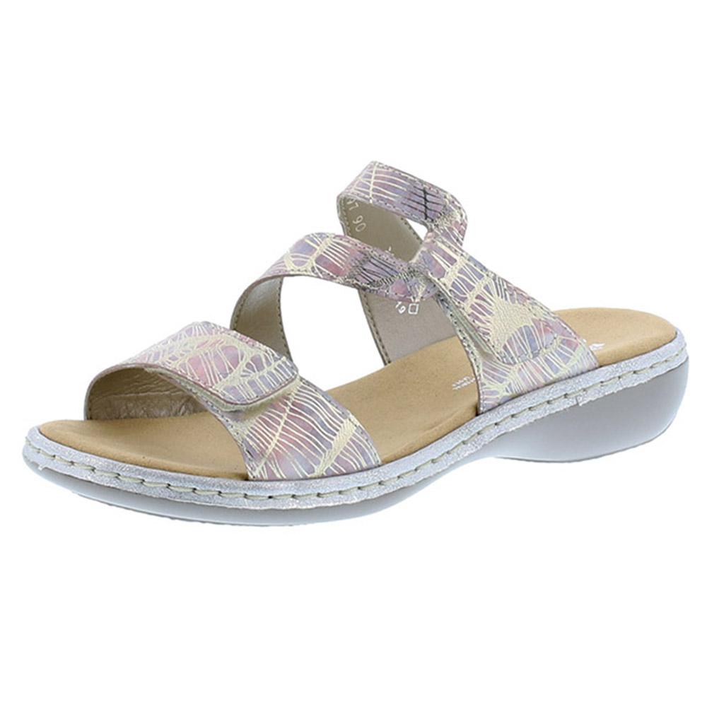 Rieker 65997-90 silver multi strap mule Sizes - 37, 39, 40 and 41. Price - £55