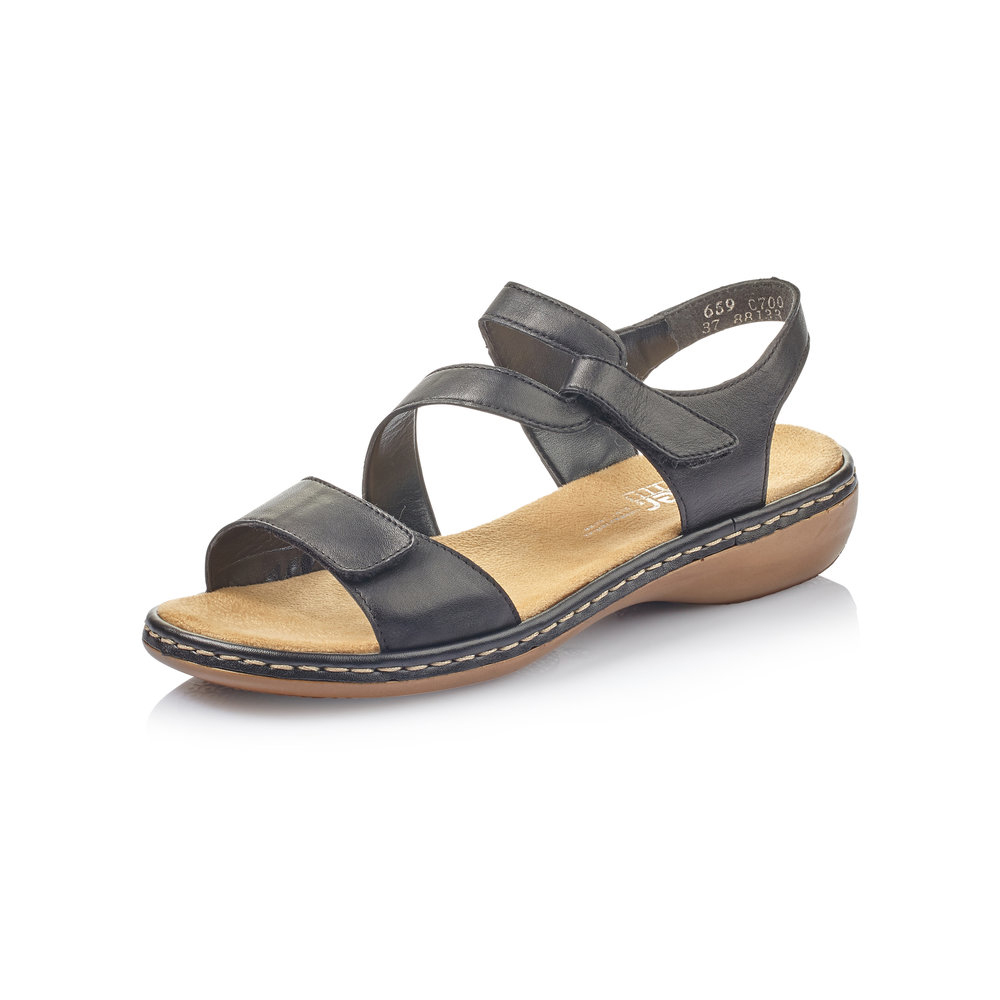 Rieker 659C7-00 Black velcro strap sandal Sizes - 37 to 42 Price - £57 Now £49