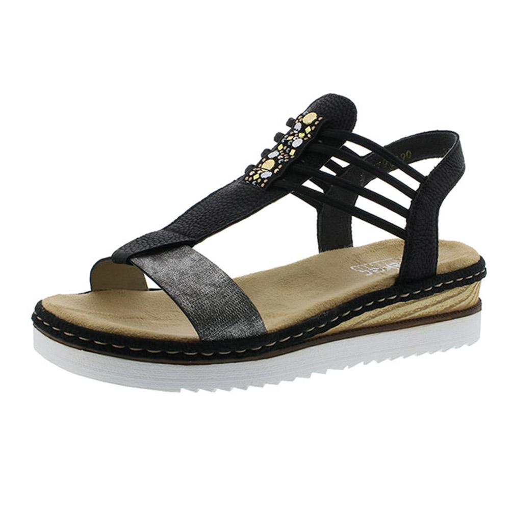 Rieker 679L1-90 black pewter elastic sandal Sizes - 37 to 42 Price - £55 Now £45