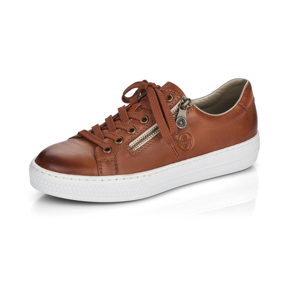 Rieker L59L1-25 Tan zip lace shoe Sizes - 37 to 41 Price - £62 NOW £49