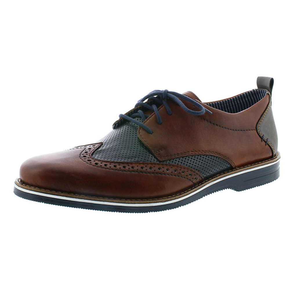 Rieker Mens 12532-24 navy tan brogue lace Sizes - 44 and 45 only. Price - £79