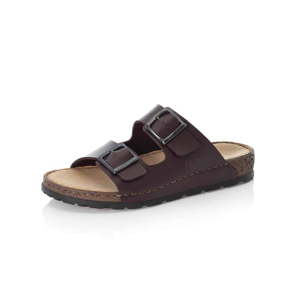 Rieker Mens 25690-26 Brown 2 bar slide Sizes - 41 to 45 Price - £47