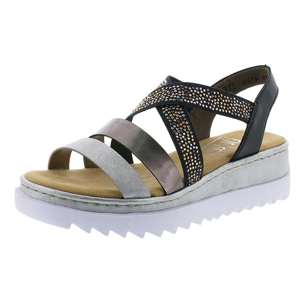 Rieker V4479-80 silver black strap sandal Sizes - 37 to 41 Price - £52.00 Now £45