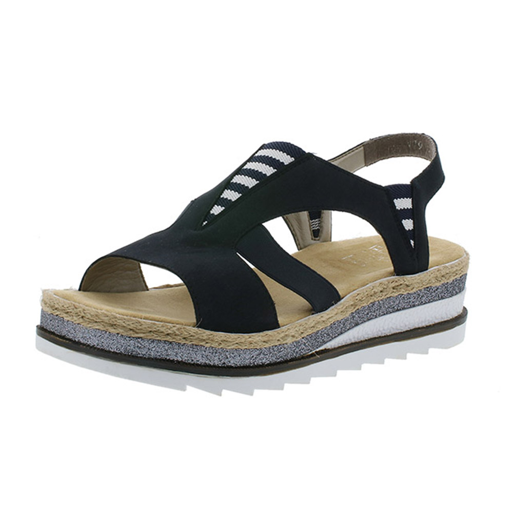 Rieker V79Y7-14 navy stripe sandal Sizes - 37 and 39 only.  Price - £57 Now £49