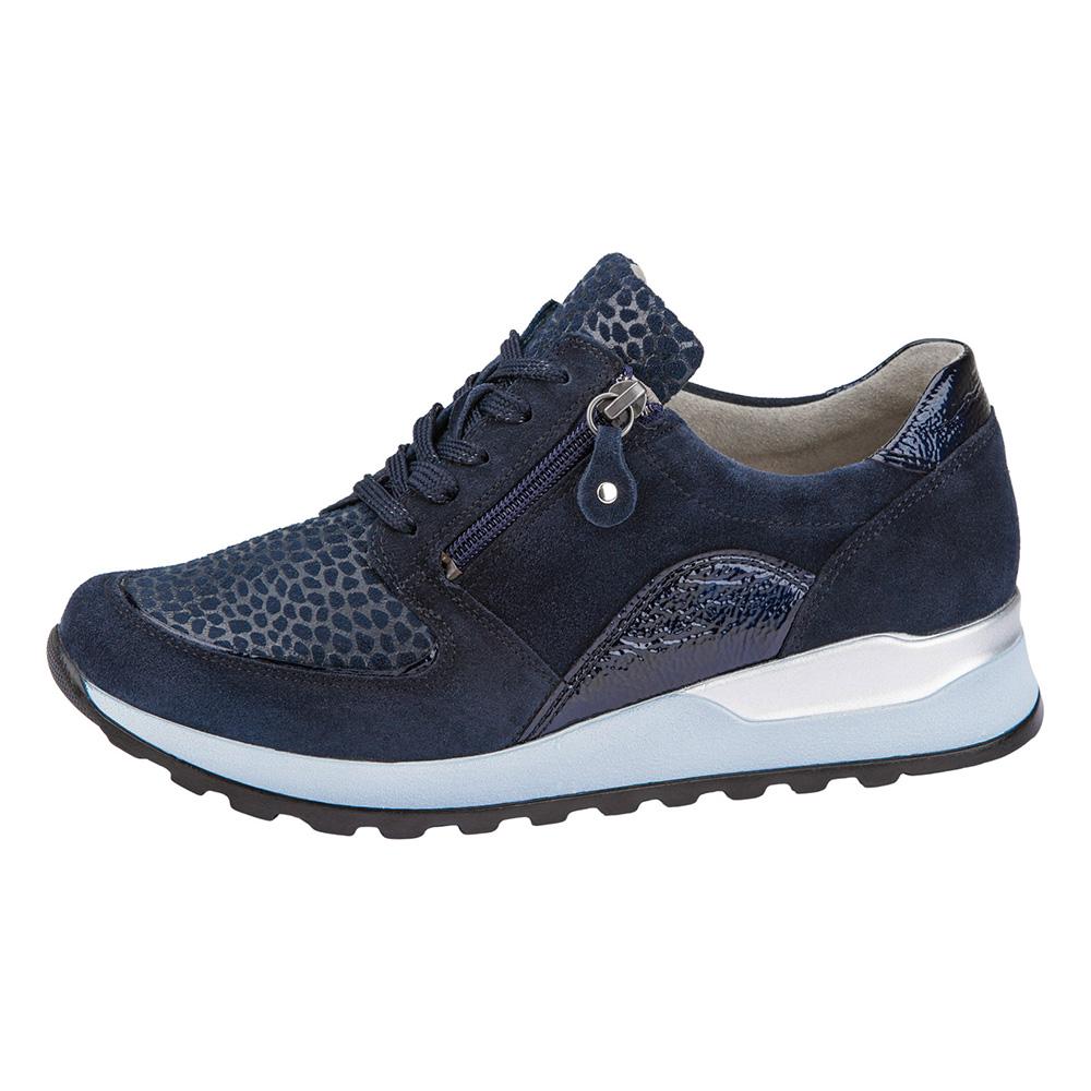 Waldlaufer H64007 Hiroko soft Navy multi zip lace shoe Sizes - 4 to 8 Price - £79