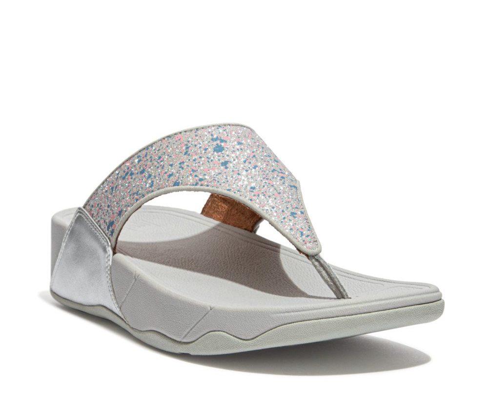 FitFlop Lulu Glitter Splash silver toe post Sizes - 4 to 7 Price - £55